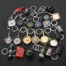 Game Keychain PUBG Playerunknowns Battlegrounds Cosplay Costumes Accessories Metal Key Ring Pan Armor Model KeyChain Weapon