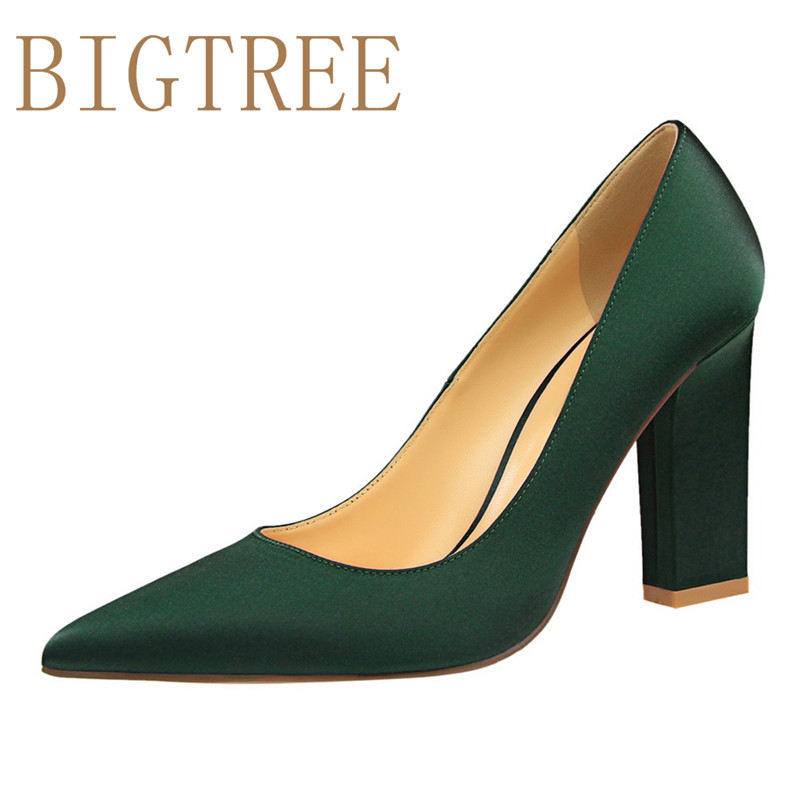 BIGTREE Spring Autumn fashion Simple women pumps Rough with Shallow mouth Pointed Sexy Nightclub Silk 9.5 CM  high heels shoes bigtree summer fashion women high heels sandals suede shallow mouth pointed pearl ladies sandals sexy wedding red woman shoes