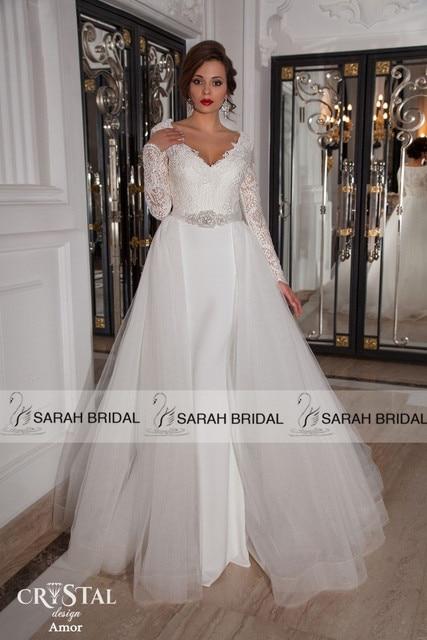 Fashionable Two In One Mermaid Wedding Dresses Long Sleeve ...