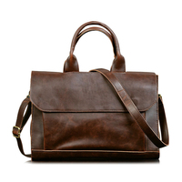 Men S Brown Classical Vintage Business Handmade Top Handle Laptop Computer Shoulder Bags Briefcase Portfolio Handbags