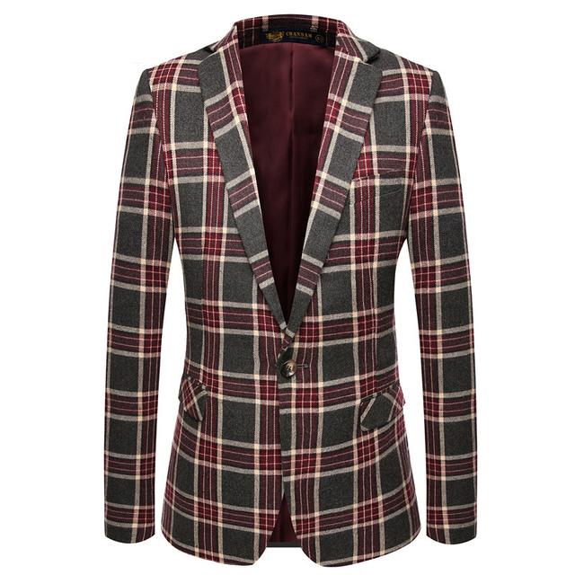 Xadrez homens blazers casual ternos 2016 Novos Chegam populares aptidão social do homem de negócio casaco masculino casaco jaqueta M-XXXL