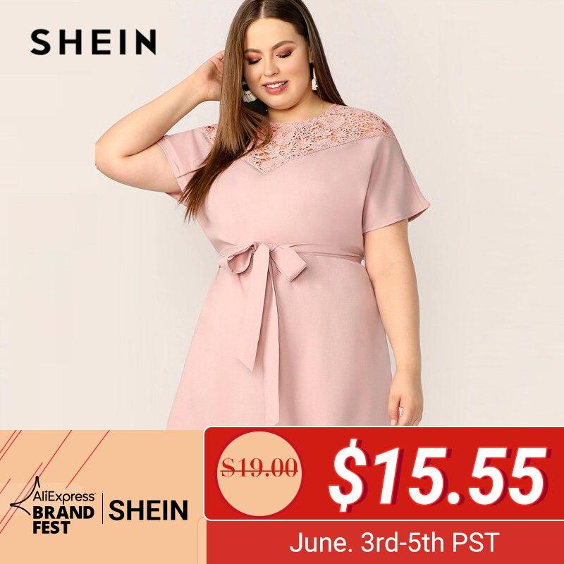 Шеин плюс размер розовый гипюр кружева хомут поясом платье женское летнее элегантное Контрастное кружево рабочая одежда сплошной круглый ...
