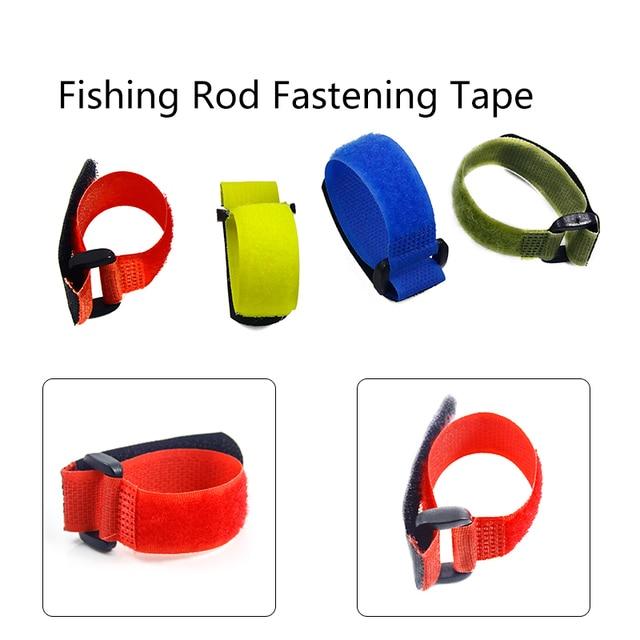 1pcs Reusable Fishing Rod Tie Holder Strap Suspenders Fastener Hook Loop Cable Cord Ties Belt Fishing Accessories YB329  2
