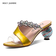 2019 Summer Womens Casual Shoes On Sale Diamond Slippers Gold Purple High Heel Sandals Wedding Genuine leather Women slippers