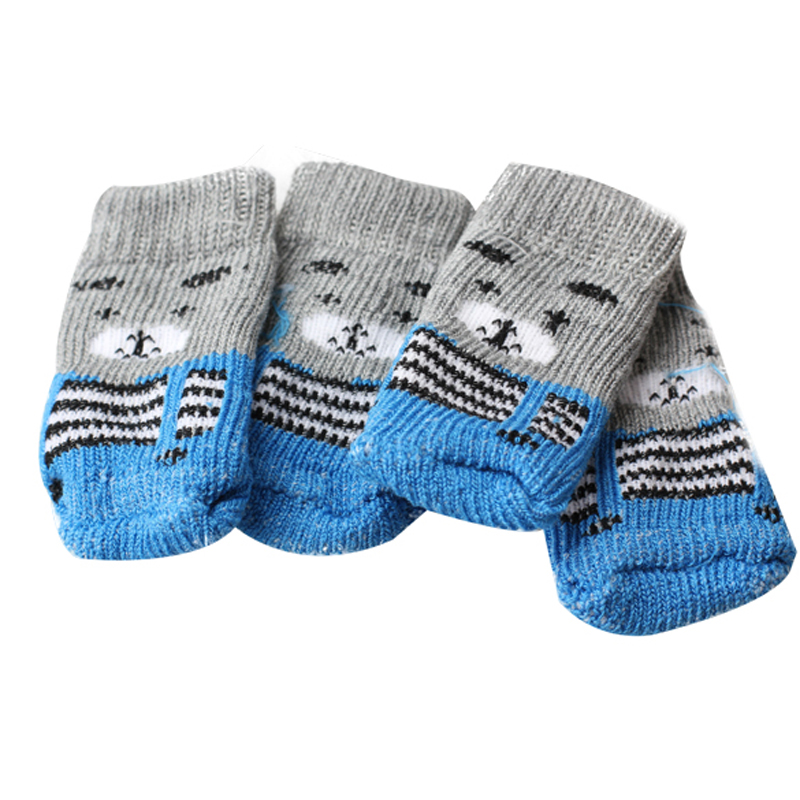 Hot Sale 4Pcs Cute Puppy Dogs Pet Knits Socks Anti Slip Skid Color Send at random,do not offer color choice