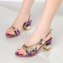 Genuine Leather Women Banquet Prom Party Shoes Summer Rhinestone Sandals Open Toe Chunky Heel Strappy Wedding Shoes XMX-A0037 creativesugar crystal rhinestone brooch women s flats elegant wedding prom banquet noble satin dress shoes pink white round toe