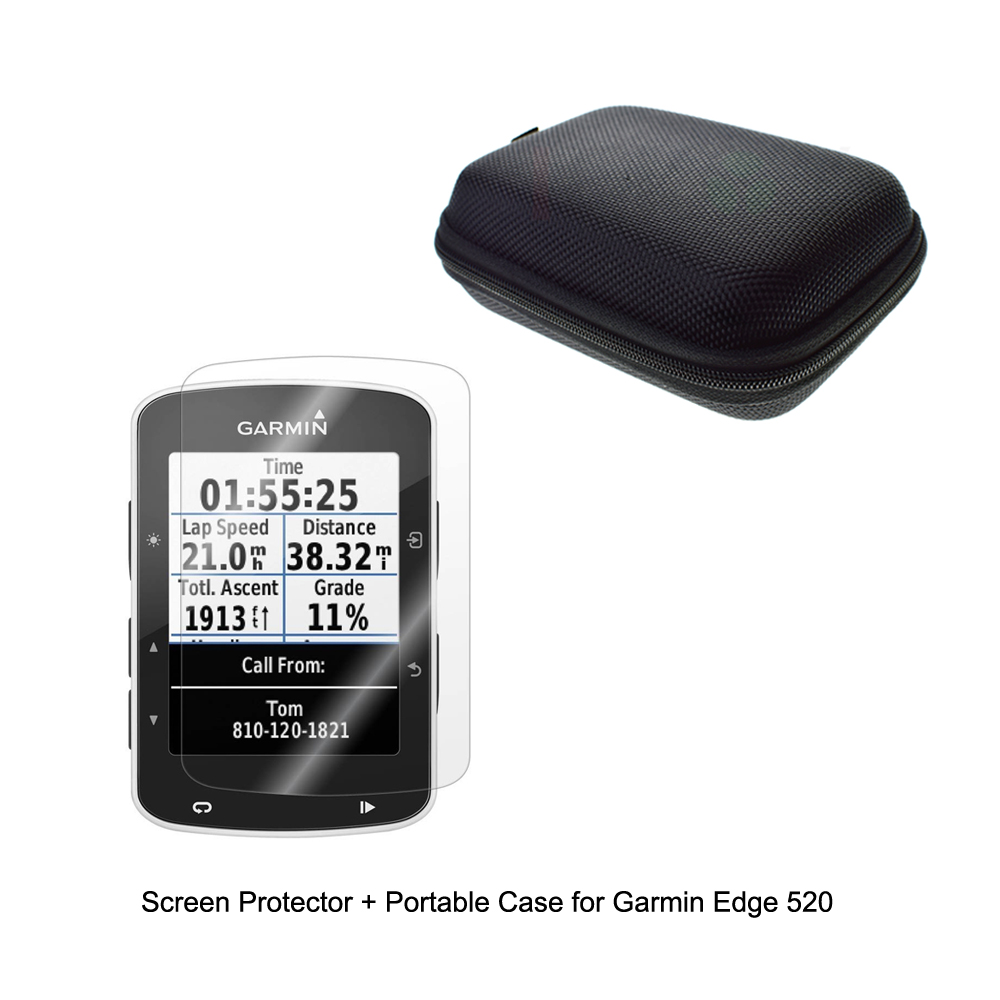 Outdoor Traveling Protect Portable Case Bag + Clear Screen Protector Shield Film for Garmin Cycling GPS Edge 520