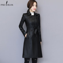 PinkyIsblack 2019 New Spring Women Long Leather Jacket Slim Plus Size Belt Motorcycle PU Coat Trench