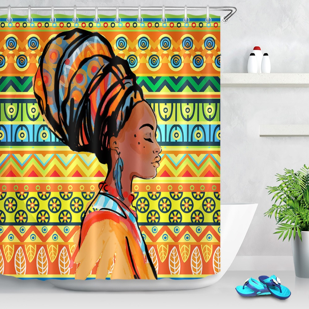 Boho African Women Shower Curtain Egypt India Exotic -5523