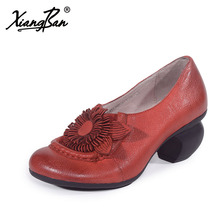 Xiangban 2018 Spring Women Shoes Handmade High Heels Rough With Elegant Women Pumps Round Head