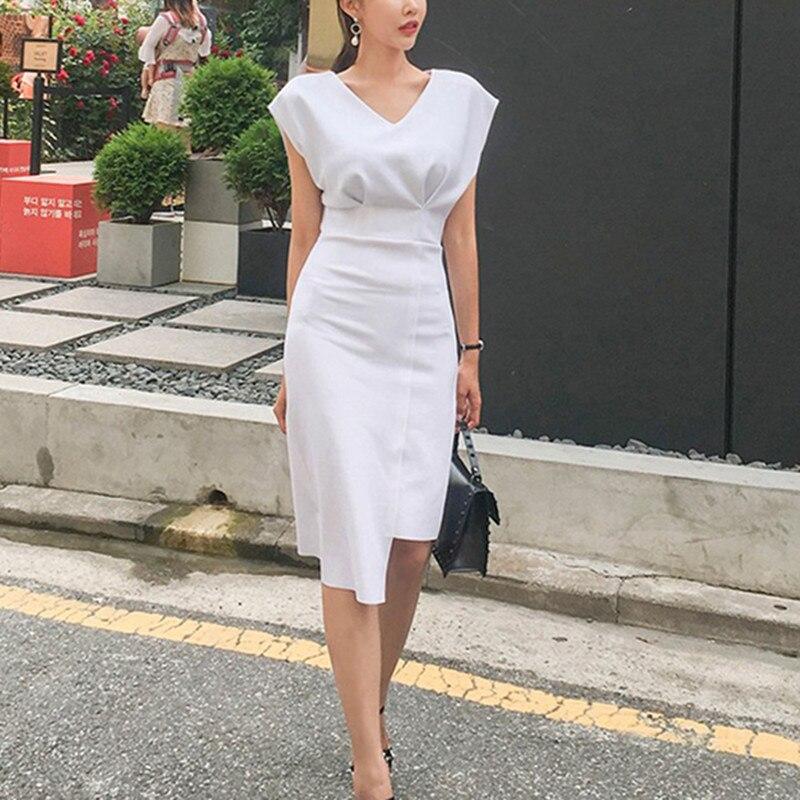 2019 Summer Women Elegant V-neck Batwing Sleeve Slim Sheath Dress Prom Formal Party Dresses Office Lady Work Vestidos
