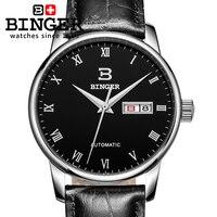 Isviçre erkek saati lüks marka BINGER İş Mekanik Saatı deri kayış Su Geçirmez BG-0399-7