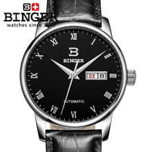 Switzerland men's watch luxury brand BINGER business Mechanical Wristwatches leather strap Water Resistance BG-0399-7