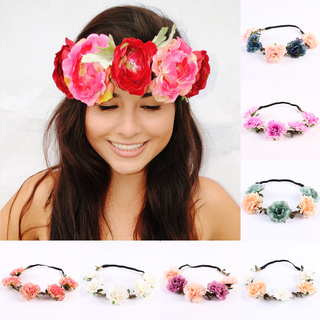 Women Headband Bride Flowers Headband Wedding Beach Flower Crown Hairband  Ladies Fairy Beach Hair Wreaths Accessories Garland 2dbc70f4a23