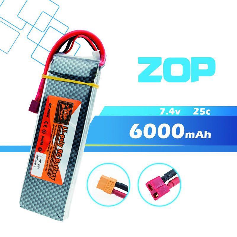 2 PCS Recarregável Poder ZOP 2 S 7.4 V 6000 MAH Bateria Lipo T XT60 25C Plug Para RC Zangão modelos de Helicópteros Aviões Carros Barco
