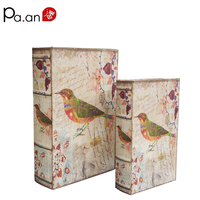 Europe 2 Piece Set Wood Book Box Colorful Bird Printed Storage Boxes Jewelry Sundries Holder Organizer