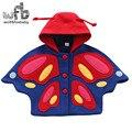 Varejo 3-10 anos crianças misturas de lã borboleta dos desenhos animados Espessamento Manter casaco quente crianças outono inverno primavera outono