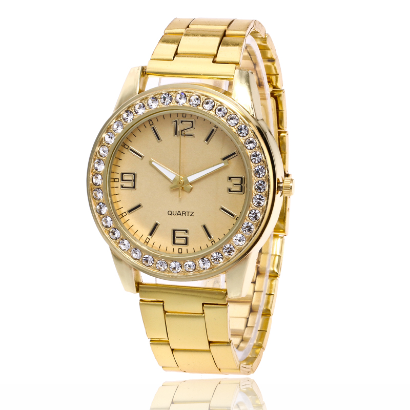Top Luxury New Brand Gold Crystal Casual Quartz Watch Women Stainless Steel Dress Watches Ladies Wrist Watch Relogio Feminino luxury brand watches for men binger dress watch casual crystal automatic wrist steel wristwatch relogio feminino reloj