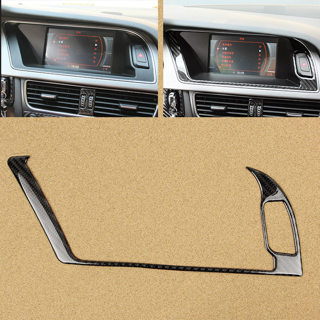 For Audi A4 B8 2009 2010 2011 2012 2013 2014 2015 2016 Carbon Fiber Navigation Panel Screen Warning Light Outer Frame Cover Trim
