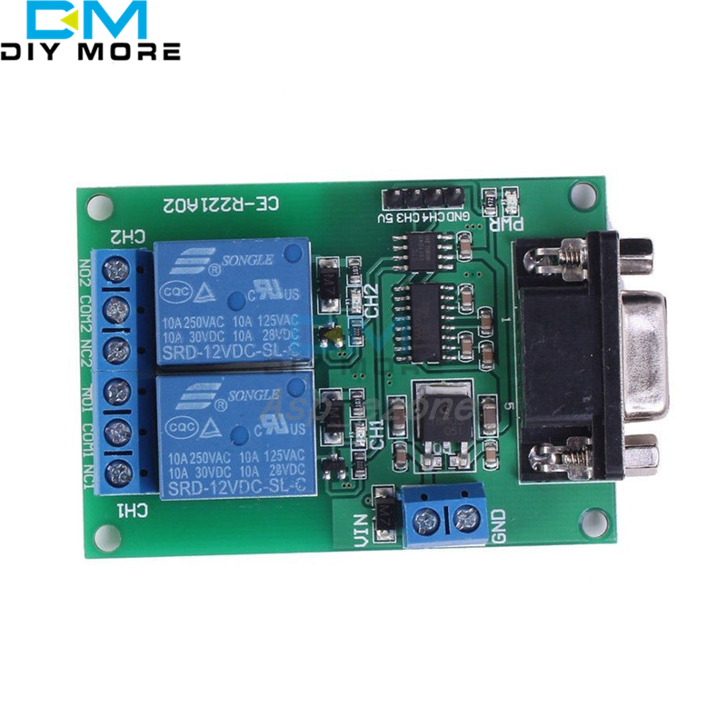 DC 12V 2Ch RS232 Relay Board Remote Control USB PC UART COM Serial Ports relay 15 control board stc12c5a60s2 dual serial mcu
