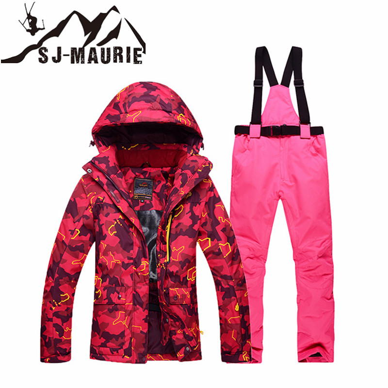 Women Ski Jacket and Pants Suit Set Snow Outdoor Sports Snowboarding Clothing Waterproof Windproof