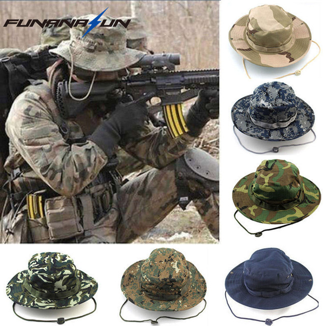 a83573c6d1a5b Military Men Hunting Camouflage Hat Outdoor Hiking Wide Bucket Hats Unisex  Brim Sun Cap Summer Jungle with String Boonie Hat