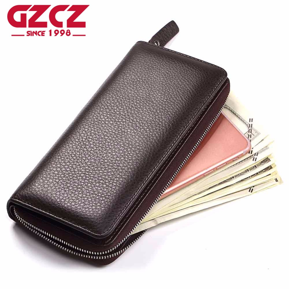 GZCZ Leather Wallet Long Purse Wallet Luxury Male Genuine Leather Wallet Men Zipper Purs ...