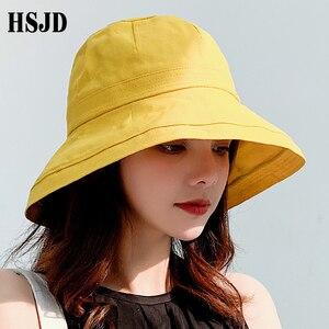Image 3 - 2019 yeni fransız bez geniş ağız güneş balıkçı şapka yaz kadın şapka açık seyahat katlanabilir katı kova şapka Anti UV plaj şapkası