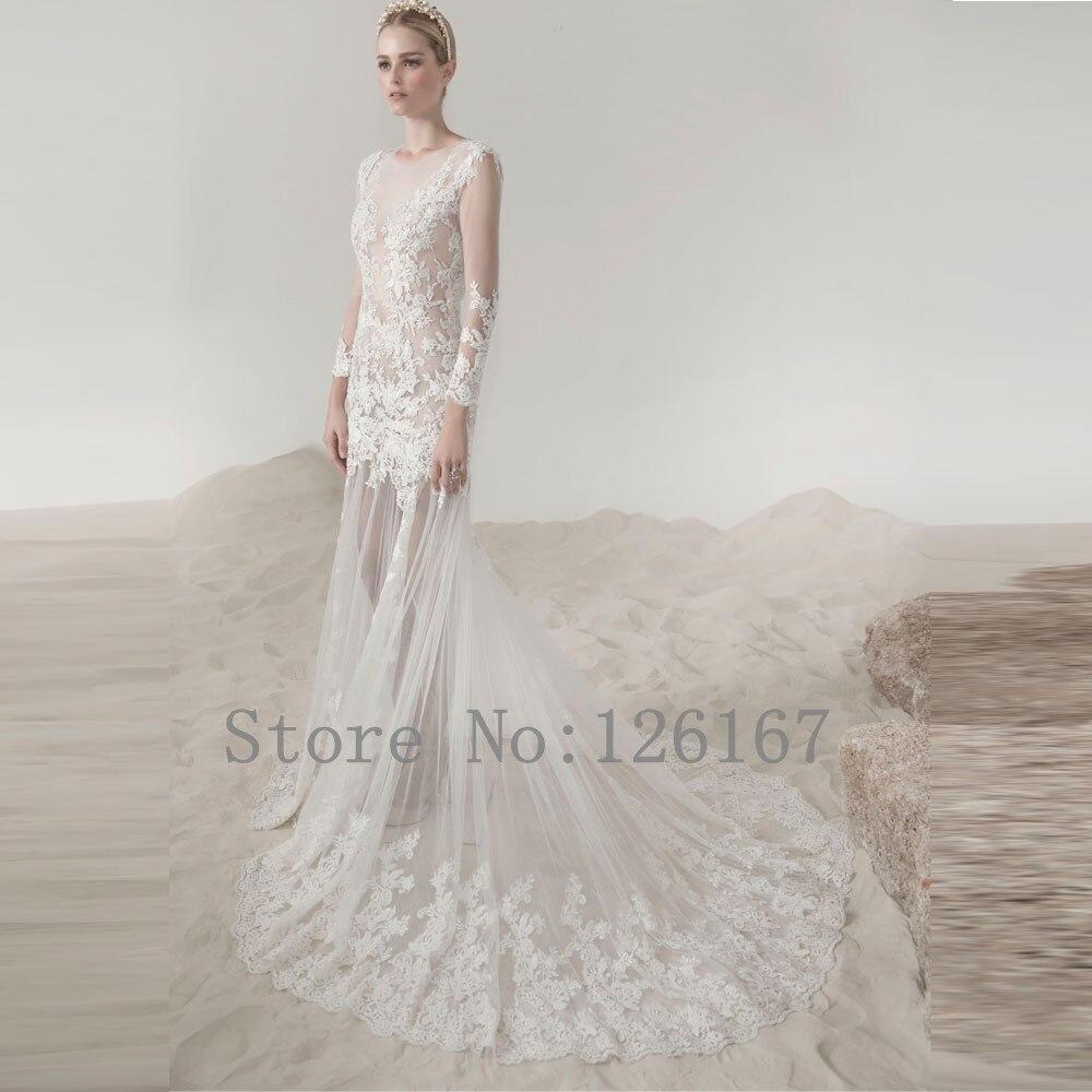 Sheer Vestidos de Noiva Wedding Dress Open Back Lace Appliqued ...