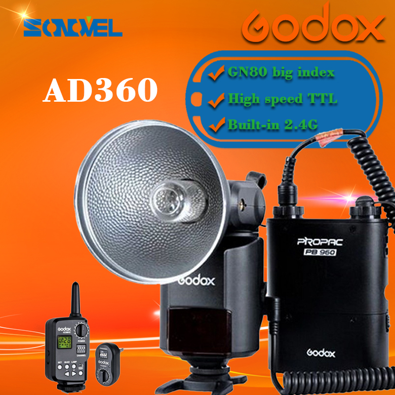 Godox AD-360 Portable Flash Light Speedlite FT16 Trigger PB960 Power Pack Kit aputure 16 channel flash speedlite