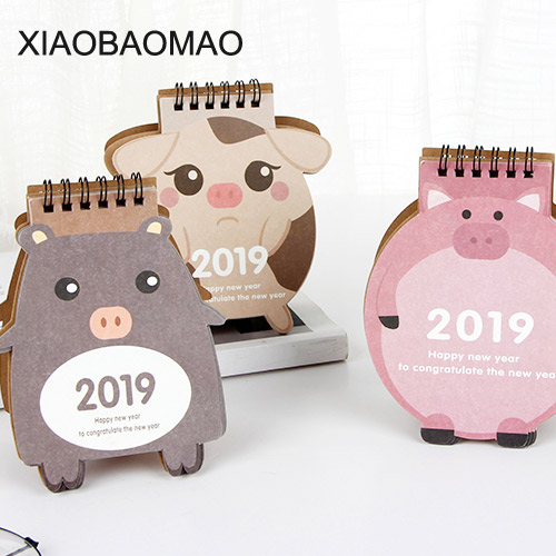 Cute Pig 2019 Paper Calendar dual Daily Scheduler Table Planner Yearly Agenda Organizer Calendar 2019 Cartoon Characters Desktop cute colorful floral design portable daily 2018 planner lovely doll girl scheduler 256p 11 8 15 4 2 3cm agenda gift
