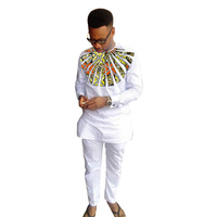 African Print Man Shirts Dashiki Fashion Pant Sets O neck Top+Trouser 2 Pieces Customized Men's Outfit For African gatherings
