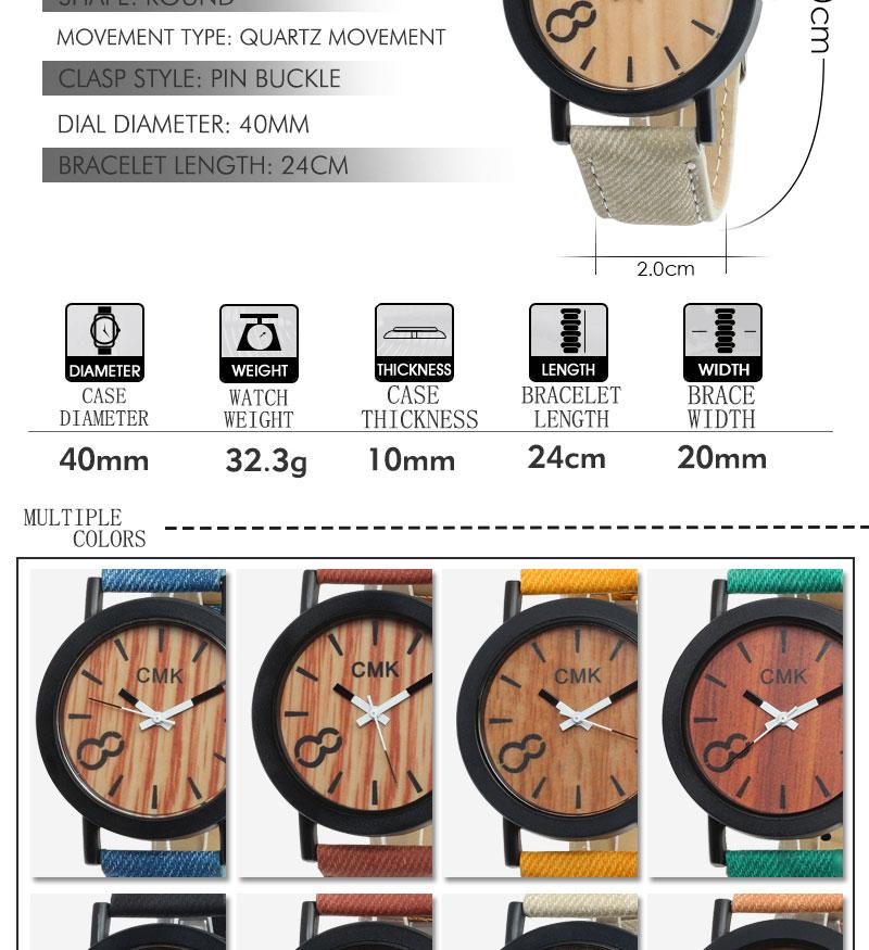 Fashion Luxury Men Women Simple Casual Leather Wood Grain Watch 9