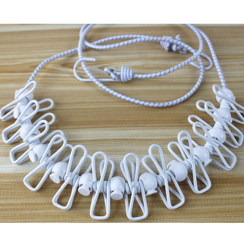 Clothesline Rope With Clips Windproof Non-slip Elasticity Retractable For Outdoor Camping J2Y
