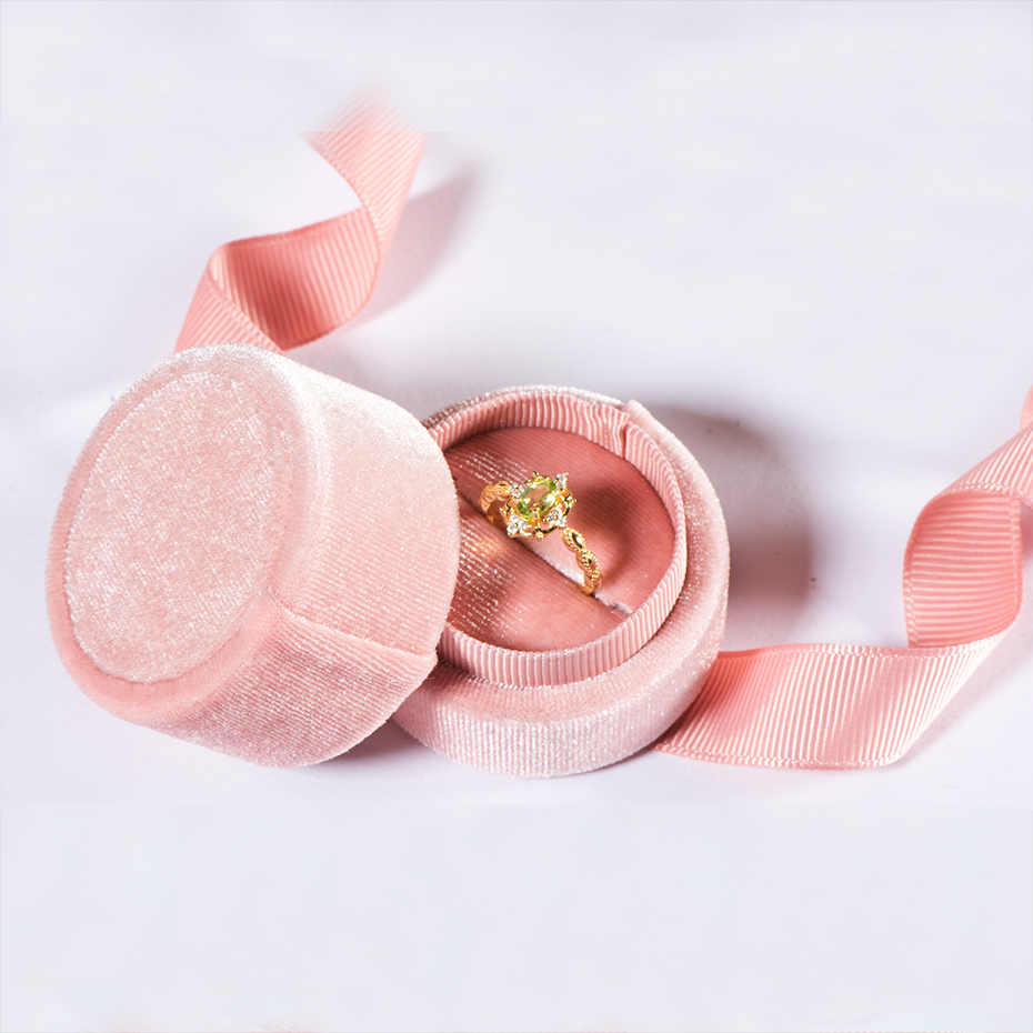 Kuololit pink velvet Round Bowknot jewelry box for Wedding Engagement Ring Earrings Necklace Bracelet Jewelry Packaging Display