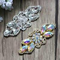 Gratis Verzending 20 stks/partij 8 CM Rhinestone Applique Crystal Patch Bruiloft Bruids Sieraden Strass Patch LSAP007
