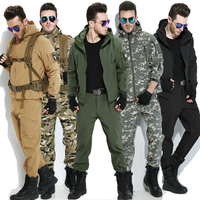 Winter Fleece Shark Skin Soft Shell Tactical Military Camouflage Pants Men Windproof Waterproof Warm Camo Paintball
