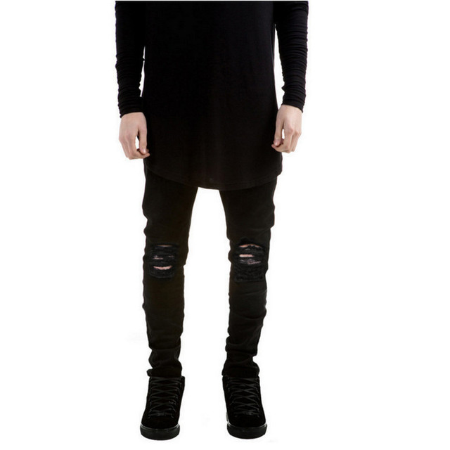 bdf66a23d1 New Black Ripped Jeans Men With Holes Denim Super Skinny Famous Designer  Brand Slim Fit Jean Pants Scratched Biker Jeans