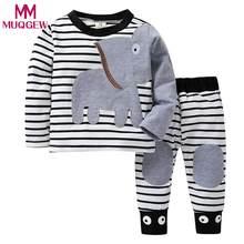 00f51c8f2 MUQGEW Recém-nascidos Roupas de Inverno Do Bebê Das Meninas Dos Meninos  Roupas Elefante Listrado Imprimir Tops T-Shirt Set .