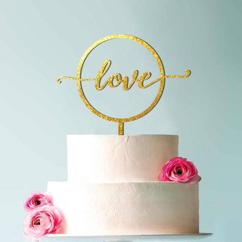 Love cake topper gold Wedding Cake Topper love Wood sign Custom  Circle wreath