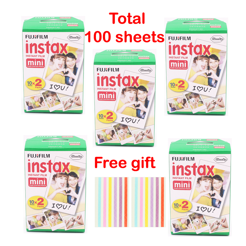 Original 100 Sheet Fujifilm Fuji Instax Mini White Film Instant Photo Paper For Instax Mini 8