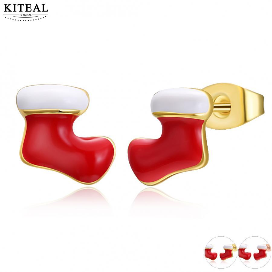 KITEAL 2017 Gold color Yellow/Rose Yellow color women earring red Christmas socks merry Christmas gift ear cuff jewellery