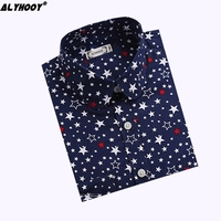 Casual Blouse Blue Star Embroidered Shirts Ladies Black And White Blouse Long Sleeve Shirt Office Wear Larger Size 2017 New