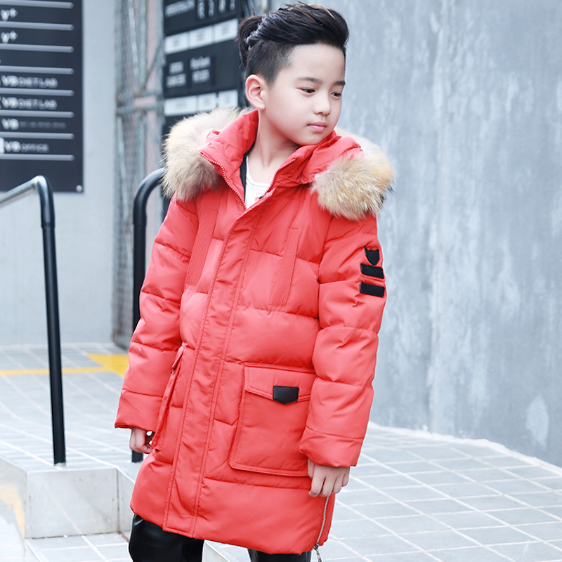 ФОТО 2016 winter boys white duck down jakcet thicken jackets boy coat male jacket big children's clothing outerwear hooded collar