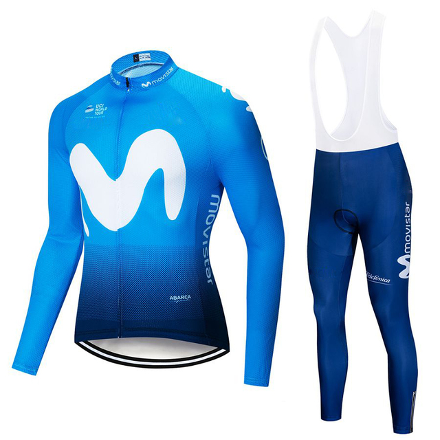 2019 Movistar Team long sleeve Cycling jersey Set bib pants ropa ciclismo  bicycle clothing MTB bike jersey Uniform Men clothes 9fddac3d5