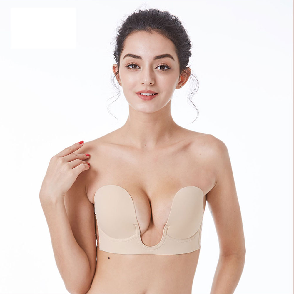Invisible <font><b>Bra</b></font> Strapless Self Adhesive Silicone <font><b>Push</b></font>-<font><b>up</b></font> <font><b>Bras</b></font> for Women <font><b>Deep</b></font> <font><b>U</b></font> <font><b>Sexy</b></font> <font><b>Bra</b></font> <font><b>Push</b></font> <font><b>Up</b></font> Backless Bralette Underwear image