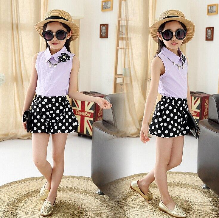 6f98287a4 3 12 años ropa para adolescentes camisa de las muchachas con collar de  perlas y Polka Dot Shorts 2 unidades moda de verano adolescentes niñas  establece en ...
