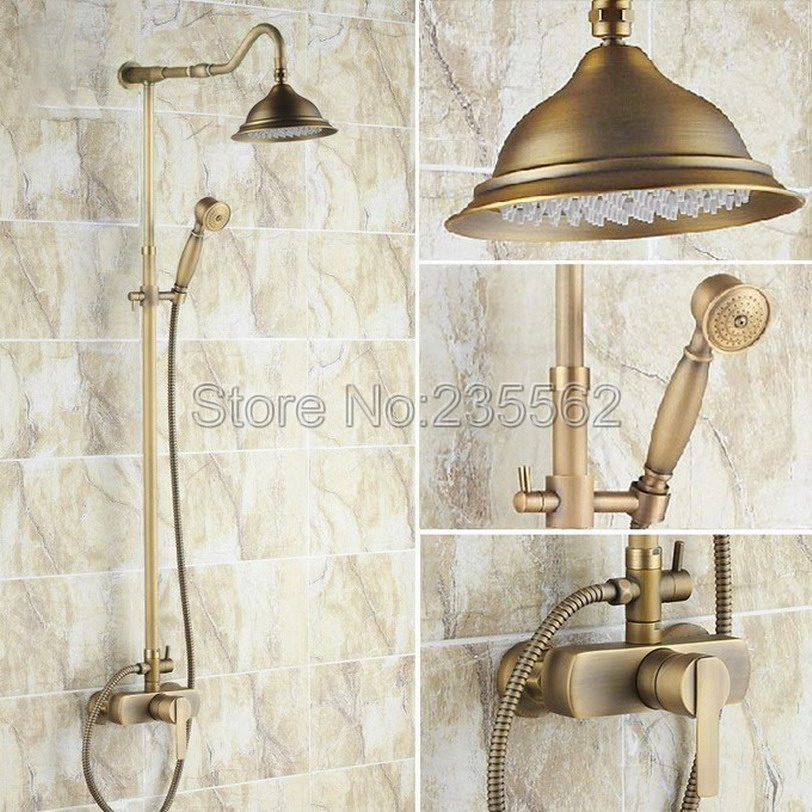 Antique Brass Bathroom Rain Shower Faucet Set With Hand shower Single Handle Cold and Hot Water Mixer Tub Spout Tap lrs201