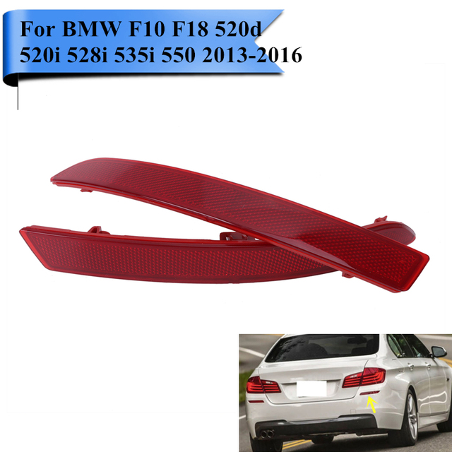 2x Rear Reflector Bumper Warn Light Strips For BMW F10 F18 520d 520i 528i 535i 550i 2013 2014 2015 2016 Car Styling #W104