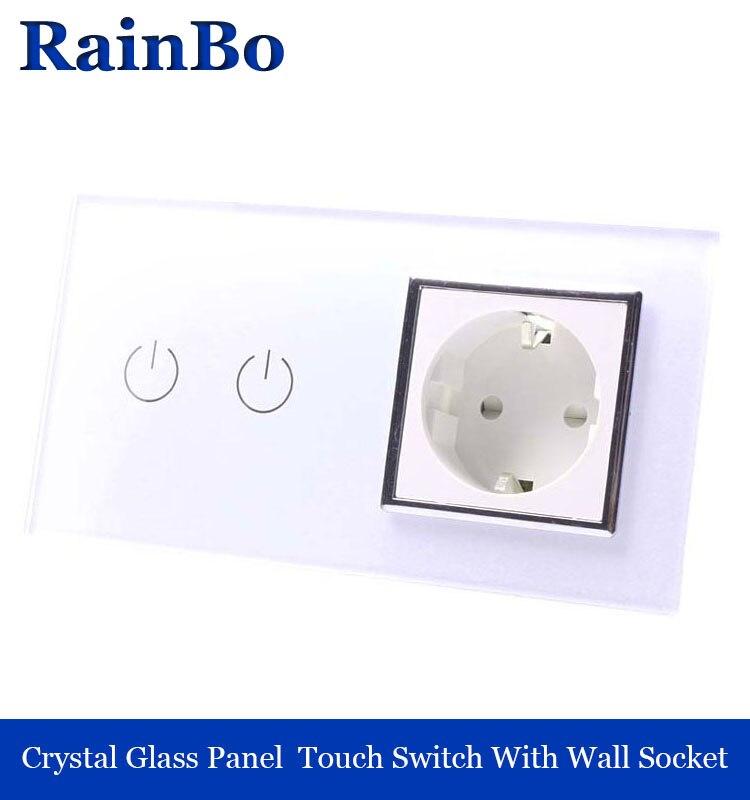 все цены на rainbo Luxury White Touch Screen Control Tempered crystal Glass Panel Wall Light  touch Switch socket Wall Socket  A29218EW/B онлайн